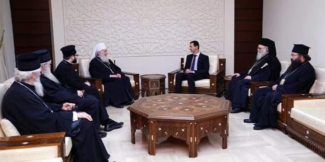 Photo of President al-Assad receives Patriarch Irinej of Serbia
