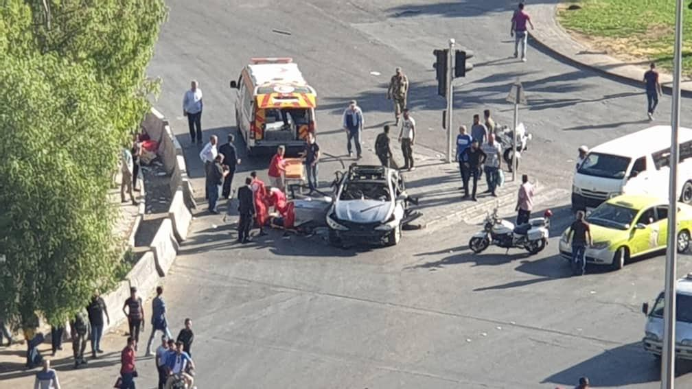 "Photo of تفجير إرهابي بعبوة ناسفة على ""أوتستراد المزة"" بدمشق"
