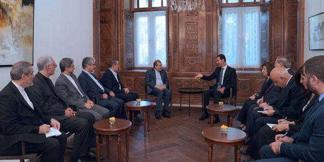 Photo of الرئيس الأسد يناقش مع الوفد الإيراني تفاصيل القمة الثلاثية التي عُقدة بخصوص إدلب والجزيرة السورية ولجنة مناقشة الدستور.