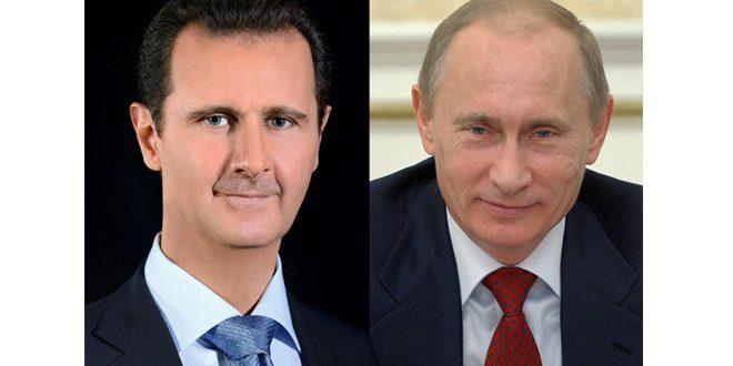 Photo of اتصال هاتفي بين الأسد وبوتين حول الأوضاع بالشمال السوري