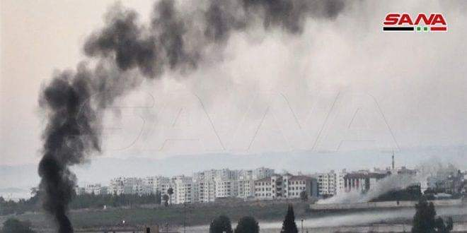 Photo of Erdogan's terrorists shell locals' houses in Tal al-Ward village, Ras al-Ayn countryside