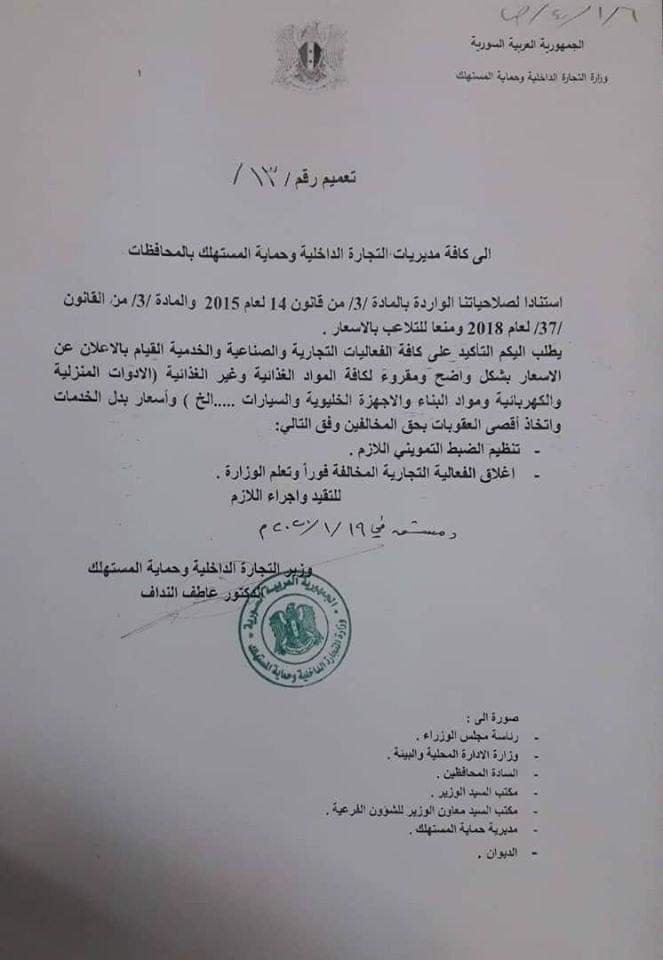 Photo of منعاً للتلاعب بالأسعار و عقوبات صارمة تصل حد الإغلاق الفوري