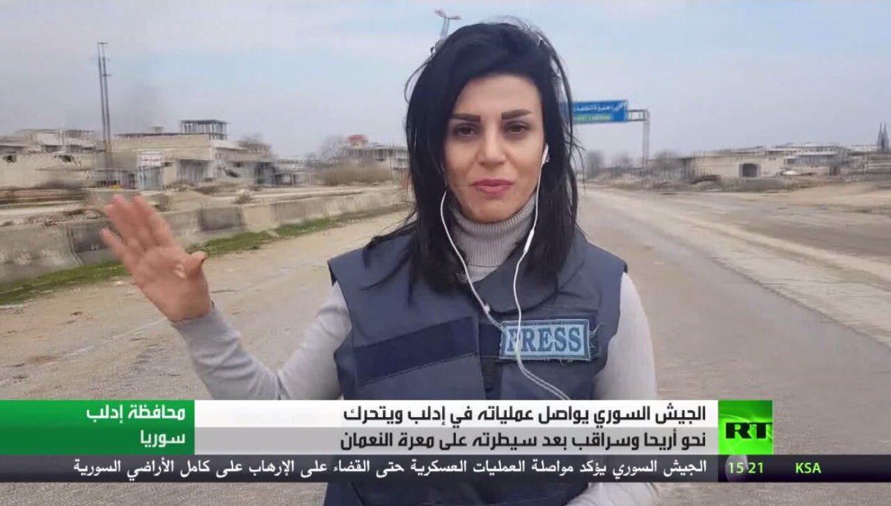 Photo of إصابة مراسلة RT خلال تغطيتها معارك معرة النعمان شمال سوريا