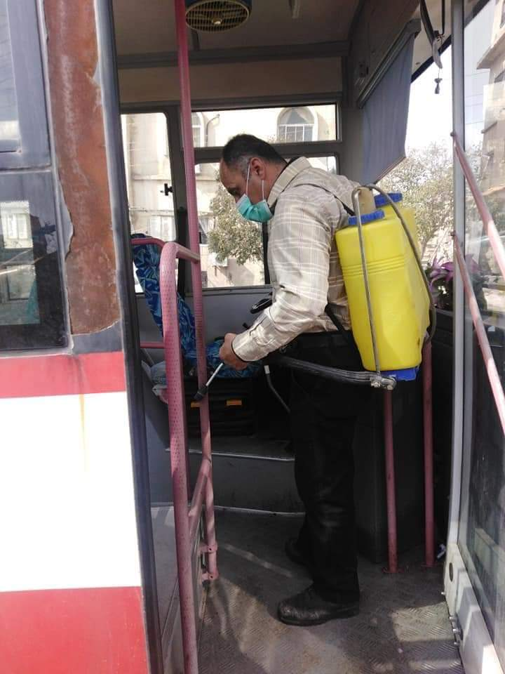 Photo of Disinfecting of internal busses in Aleppo to prevent outbreak of COVID-19