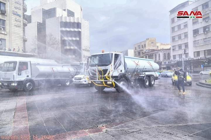 Photo of Disinfection campaign in streets and neighborhoods of Damascus