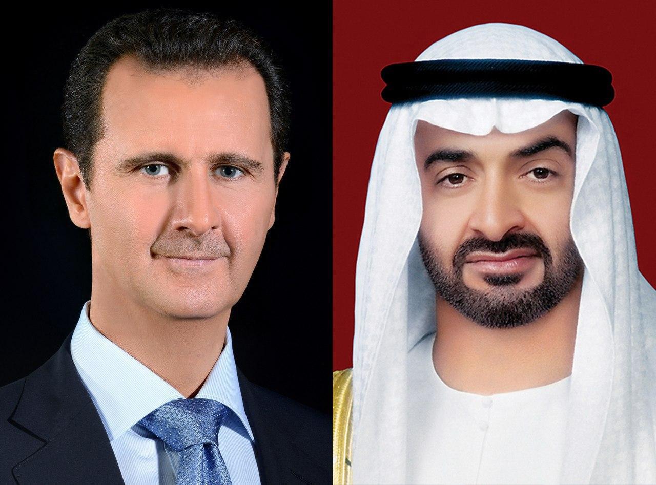 Photo of اتصال هاتفي بين الرئيس الأسد و محمد بن زايد آل نهيان ولي عهد أبوظبي