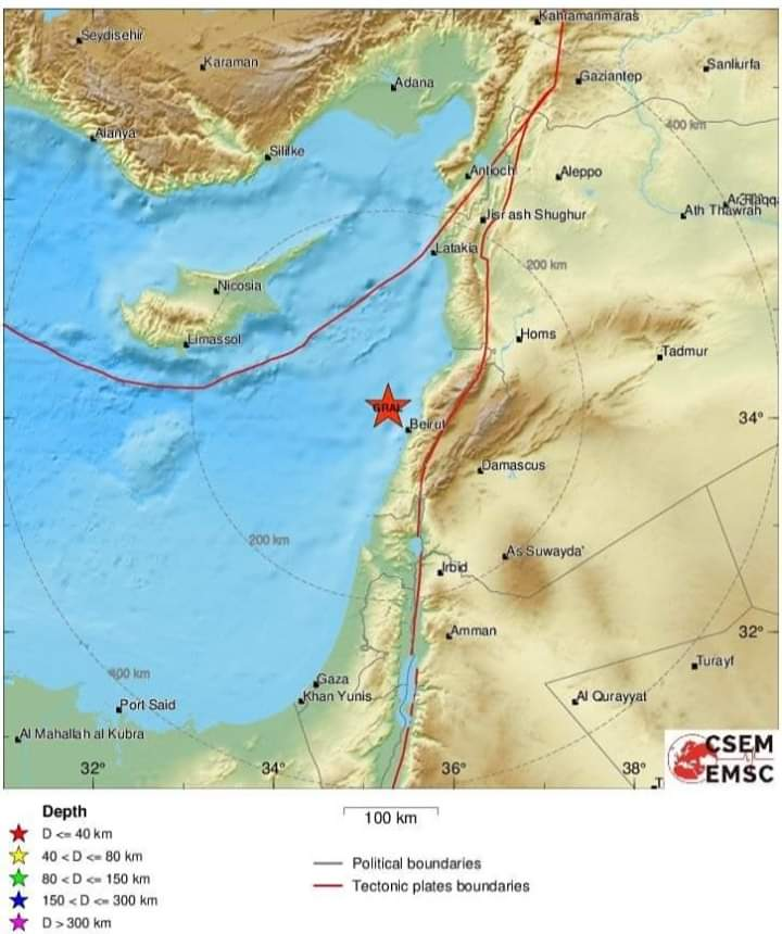 Photo of Many earthquakes at  4.7, 4.6 and 3.7 registered at Syrian coast