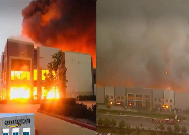 Photo of مخازن شركة آمازون في الولايات المتحدة تحترق
