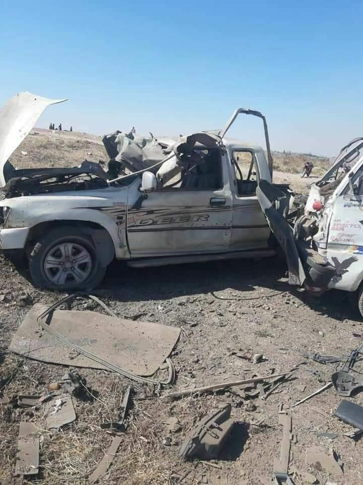 Photo of Car bomb explosion near Grain Silos south west of Ras al-Ayn city