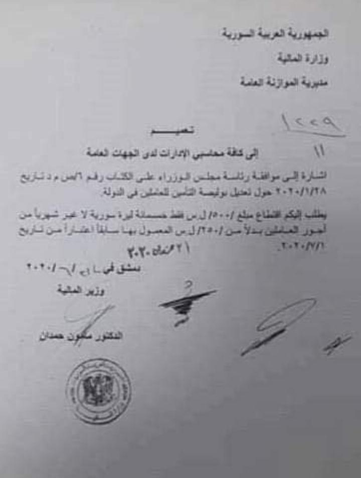 Photo of خصم 500 ليرة سورية من رواتب الموظفين في سورية