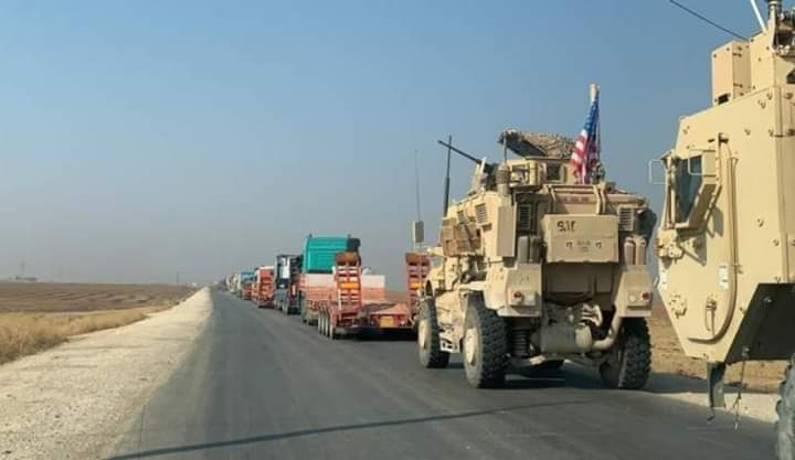 Photo of Forty five US occupation trucks loaded with military equipment enter Hasaka coming from Iraq