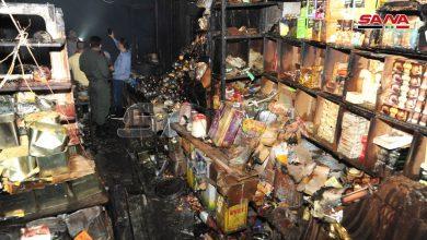 Photo of إخماد حريق اندلع في سوق البزورية بدمشق