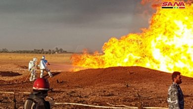 "Photo of ""سوريا بلا كهرباء"" … اعتداء إرهابي على خط الغاز العربي (فيديو)"