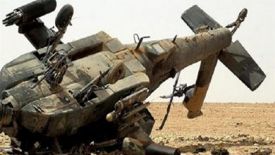Photo of US occupation helicopter falls down in Hasaka