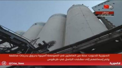 Photo of Silo of Tartous Port intact, fire didn't affect stored wheat