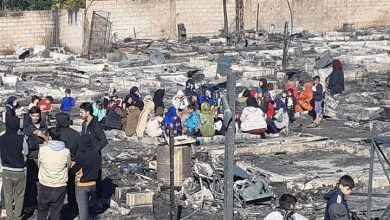 Photo of A camp for displaced Syrians in Lebanon burnt, hundreds of them displaced