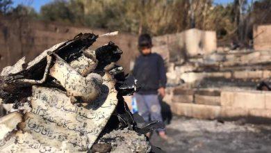 "Photo of لقطات مأساوية لمخيم ""اللاجئين السوريين"" في لبنان بعد احراقه"