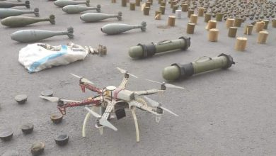 Photo of Amounts of weapons and ammunition found in Southern region