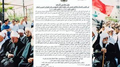 Photo of بيان مجلس الشعب بالذكرى 39 للقرار الصهيوني  المشؤوم بضم الجولان