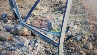 Photo of Material damage to power transmission tower in explosive device blast, Quneitra Countryside
