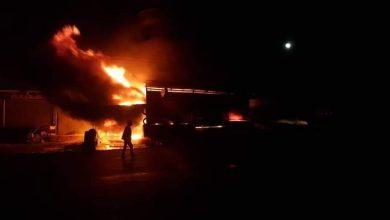 Photo of حريق كبير في محل سيارات في السويداء