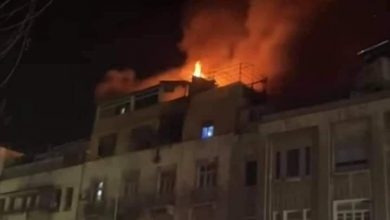 Photo of Extinguishing huge fire in residential building in al-Pakistan Street, Damascus