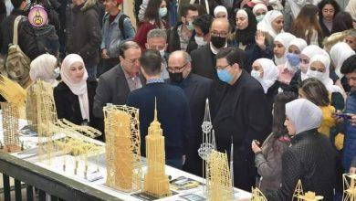 Photo of مجسمـات إنشائيـة من المعكرونـة في معرض لطلاب كلية الهندسة المعمارية بجامعة دمشق (صور)