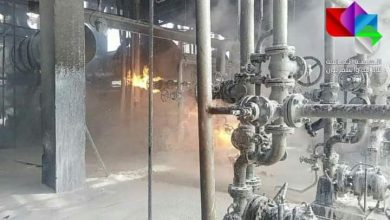 Photo of Extinguishing small fire that erupted in Unit 21 at Homs refinery