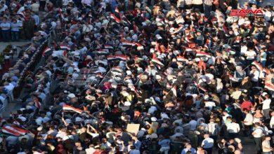 Photo of تجمع جماهيري حاشد في ساحة سعد الله الجابري بحلب دعماً للاستحقاق الرئاسي