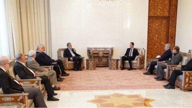 """Photo of الرئيس الأسد يلتقي وفداً من قادة وممثلي """"القوى الفلسطينية"""""""