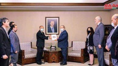 Photo of Mikdad receives a copy of credentials of Iran's Ambassador