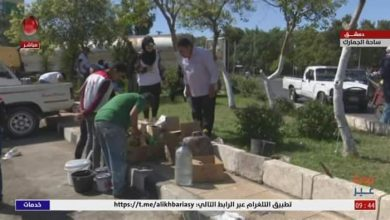 Photo of Volunteer event under the slogan hope in work in Customs Square, Damascus
