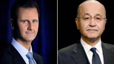 Photo of الرئيس الأسد يتلقى اتصالاً هاتفياً من الرئيس العراقي والحديث يدور حول العلاقات الثنائية