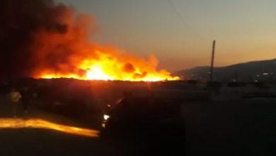 Photo of حريق داخل مخيم للنازحين السوريين في بريتال
