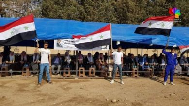 Photo of A national stand in Qamishli countryside in rejection of Turkish and US occupation forces